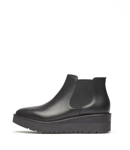 PoiLei Damen-Schuhe Chelsea Boots Lexia Stiefeletten Keilabsatz Leder