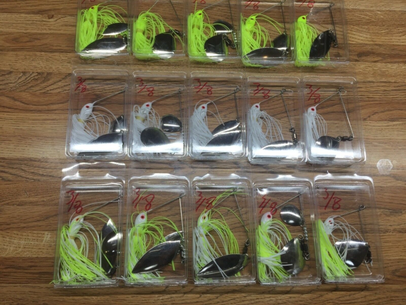 Spinner baits  lot 15 3 8 Oz 3 colors each color has 5 different blade types  cheap sale