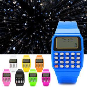 Multi-Purpose-Silicone-Date-Fashion-Child-Kid-Electronic-Wrist-Calculator-Watch
