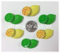 6pc Tutti Frutti Citrus Slice Lemon Lime Pie Resins Mud 4 Hairbow Bow Pink
