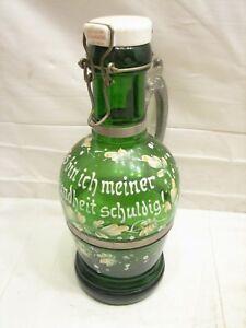 Vintage Green Glass Beer/Ale Bottle Enamel Painted German To Good Health Handled