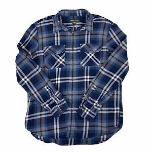 Eddie-Bauer-Mens-Blue-Plaid-Flannel-Shirt-Long-Sleeve-Button-Front-Warm-XL