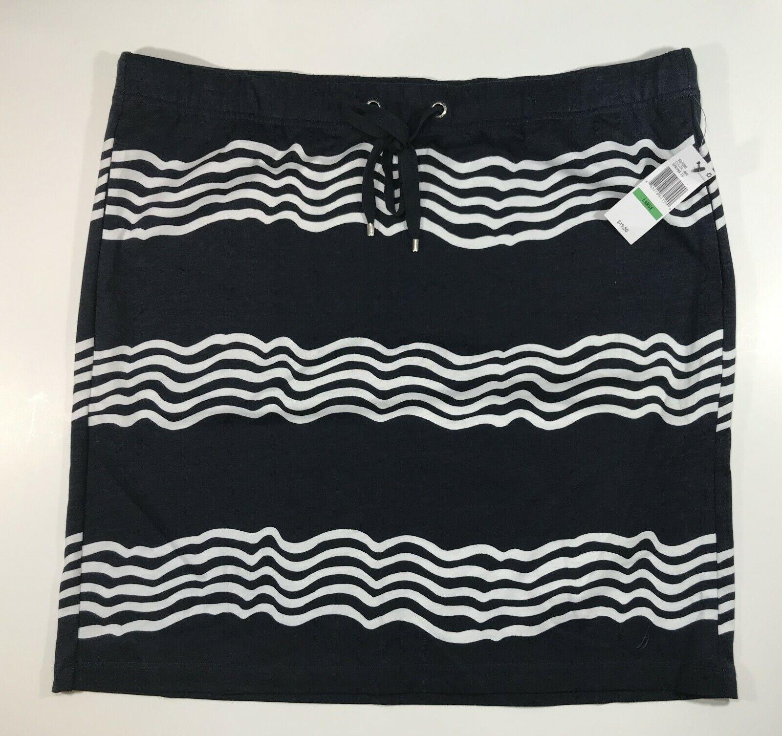 Nautica Skirt Women's Large Navy White Stripe NWT 100% Cotton