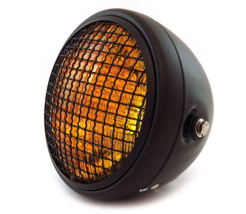 "Amber Matte Black 7/"" Custom Side Mount Motorcycle Headlight w// Grill"