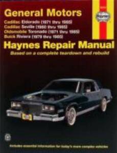 haynes manuals cadillac eldorado olds toronado buick riviera 1971 rh ebay com 97 Cadillac Eldorado Parts 97 Cadillac Eldorado Touring