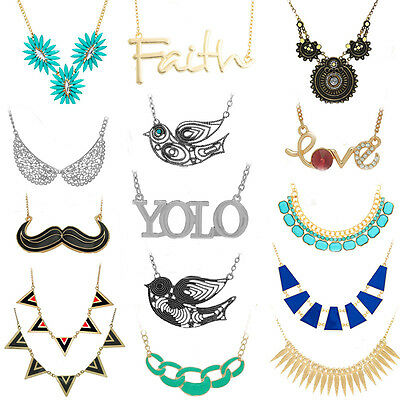 Women Fashion Charm Jewelry Choker Chunky Statement Bib Pendant Chain Necklace