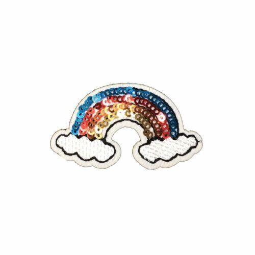 Iron On Tiny Sequin Rainbow Embroidery Applique Patch Sew Iron Badge