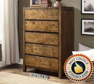 Solid-Wood-Bedroom-Dresser-Furniture-5-Drawer-Chest-Nightstand-Dressers-Storage