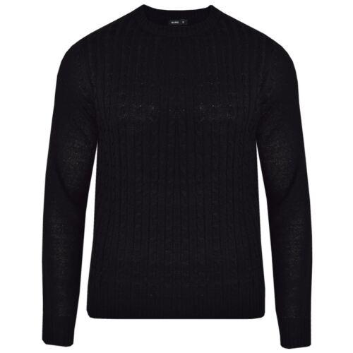 Da Uomo Nuovo Cavo Lavorato a Maglia Maglione Pullover Pullover manica lunga GIROCOLLO PARTE SUPERIORE SMART