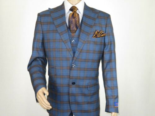 Men BERRAGAMO 3pc Suit Vested Plaid window pane peak lapel 74314 blue brown New