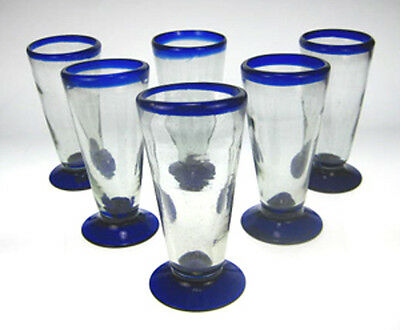Mexican Glass blue rim pilsner or beer glasses (6) hand blown, 14 oz