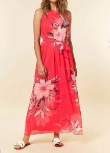 3ddf5b1fa Wallis Petite Pink Floral Print Maxi Dress UK Size 12 RRP £60 | eBay