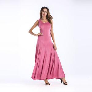 competitive price 7d7a0 8dca7 Dettagli su Elegante vestito abito lungo comodo rosa cipria morbido estivo  4150