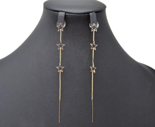 Boucles d/'Oreilles Pendantes Triple Etoiles et Fine Chaîne Métal Doré BO1103E