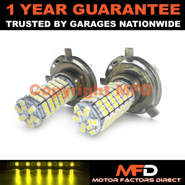 2X YELLOW H4 120 SMD LED DIPPED BEAM BULBS FOR MERCEDES E G S CLASS SL SMART