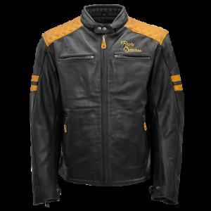 Rusty-Stitches-Lederjacke-Jari-schwarz-gelb-gold-Gr-XXL-56-Motorradjacke