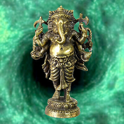 Lord Ganesha Elephant Head God of Success Hindu Amulet Statue Wealth Talisman FS