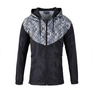 Women Black Windbreaker Jacket Windproof Zipper Sports Traveling