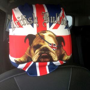Image Is Loading BRITISH BULLDOG UNION JACK CAR SEAT HEAD REST