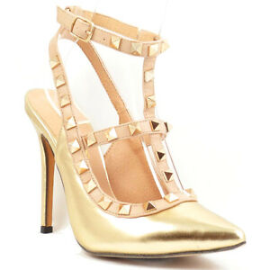 Liliana Gold Pump Pointy toe Studded Strappy Stiletto Heels ...