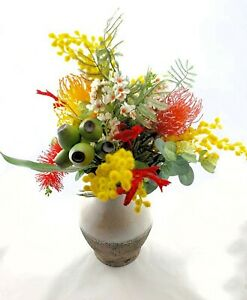 Flower-Arrangement-Multicoloured-Artificial-Native-Flowers-in-Rustic-Vase