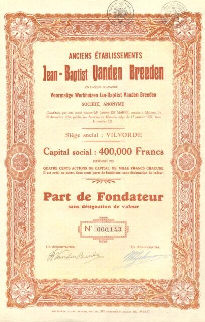 Anciens Etablissements Jean-Bapist Vanden Breeden, fundador, 1937 (Emision 200)