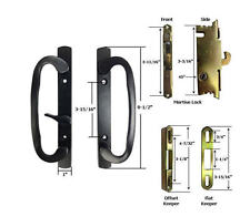 Patio Door Handle Kit Mortise Lock and Keepers, B-Position, Black, Non-Keyed