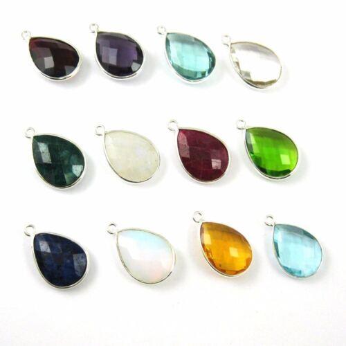 2 Pcs Birthstone Teardrop Charm Bezel Gemstone Sterling Silver Charm 22mm