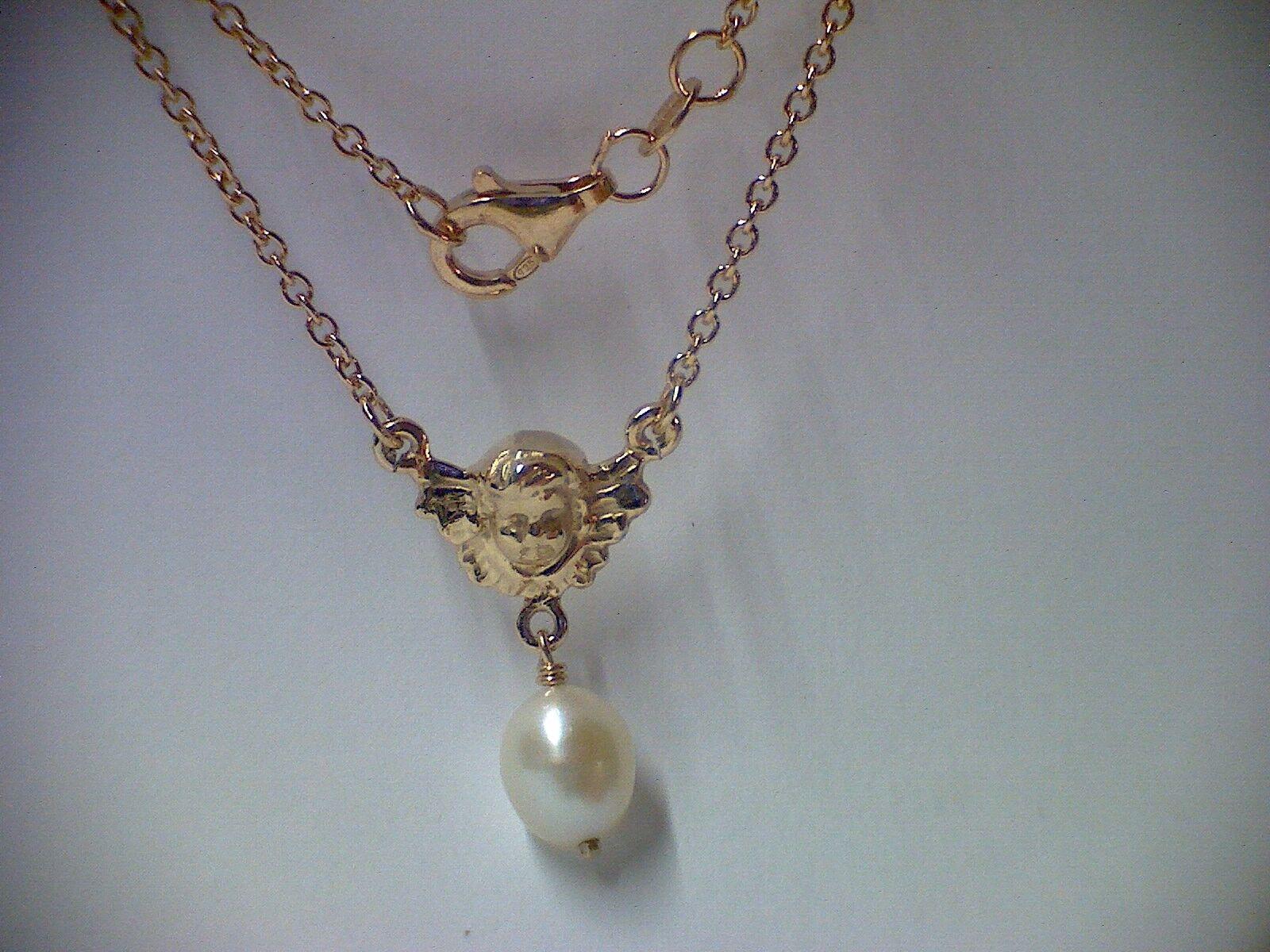 Kette Collier Schutzengel mit Perle silver 925 vergoldet