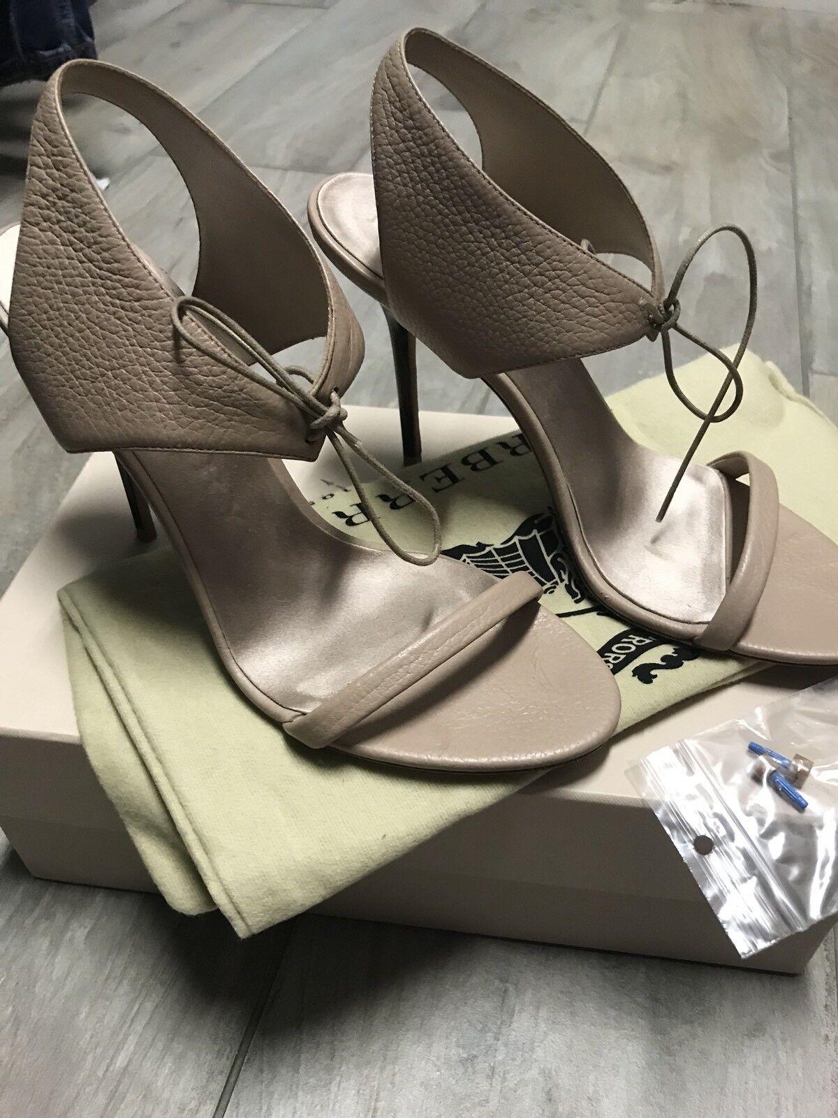Burberry Askham Leatger Sandals Heels In Tan color Size39(fit Like 8-8.5)