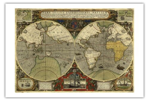 World Map Vintage Engraved Cartographic Map Art Poster Print Giclee