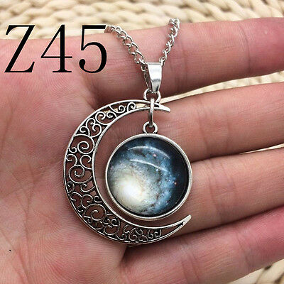 NEW Colorful Galaxy Glass Hollow Moon Shape Pendant Silver Tone Necklace #Z45
