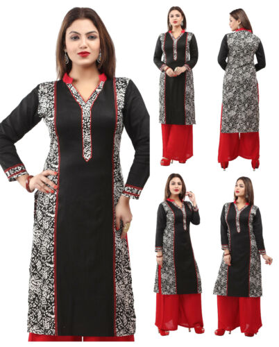 UK STOCK Cotton Women Printed Casual Indian Long Kurti Tunic Kurta Dress 154A