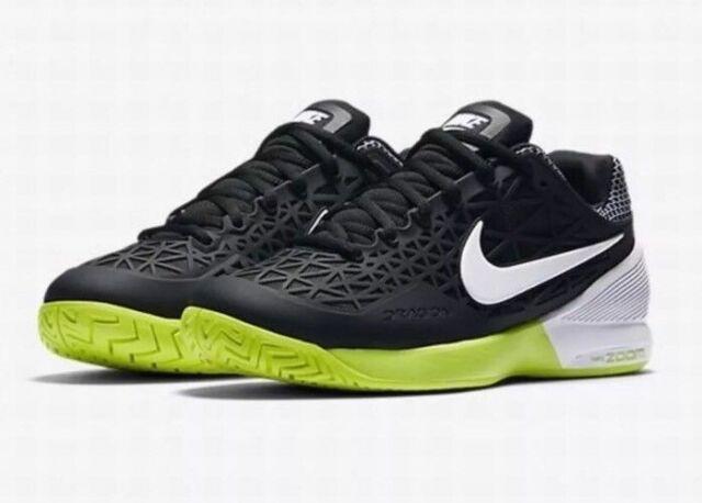 9Nike Women s Zoom Cage 2 Tennis Shoes Black White Volt 705260-001  c48da1a8ee5