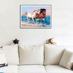 FJ-30x40cm-Beach-Horse-Cross-Stitch-Craft-DIY-Full-Round-Diamond-Painting-Decor