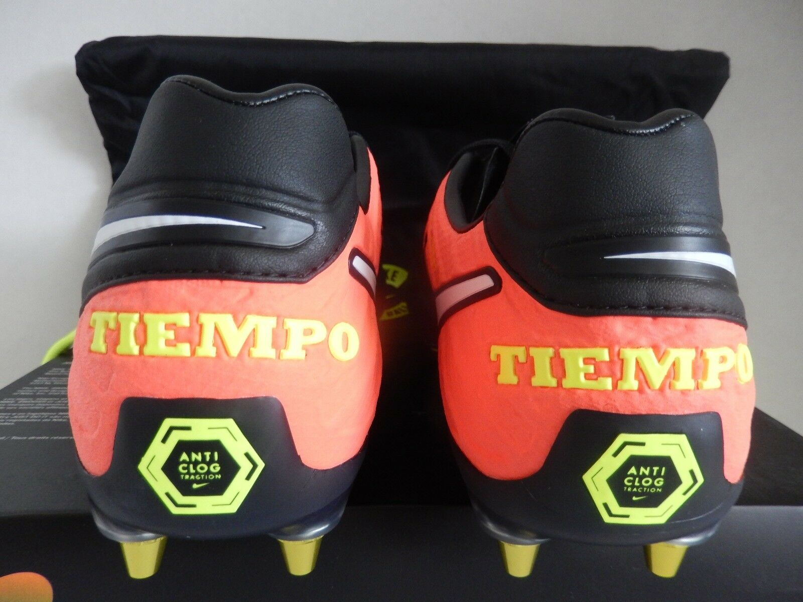 NIKE TIEMPO LEGEND PRO VI SG PRO LEGEND AC ANTI CLOG Noir -HYPER ORANGE SZ 8 d54114