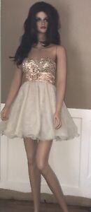 SPEECHLESS-Gold-Sequin-Strapless-Cocktail-Wedding-Prom-Short-Dress-Sz-3-EUC