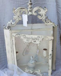 wandlampe wei gewischt shabby chic provence landhaus vintage. Black Bedroom Furniture Sets. Home Design Ideas