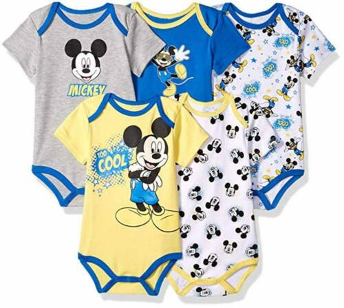 Disney Baby Boys Mickey Mouse Five-Pack Bodysuits Size 12M 18M 24M