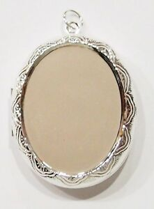 2-of-40x30-mm-Silver-Victorian-Style-Etched-Vintage-Deco-Locket-Pendant-Settings