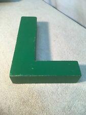 Letter L Big Vtg Wood Block Type Italic Font 8in X 5in X 15in Green
