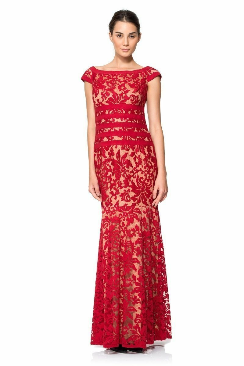410 TADASHI SHOJI SHOJI SHOJI Textured Lace Gown RED NUDE FORMAL WEDDING MOTHER OF BRIDE 98d90d