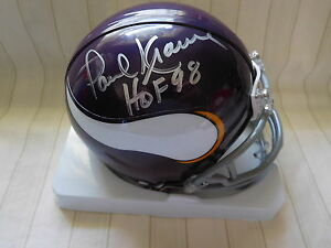 Paul-Krause-signed-T-B-Vikings-mini-helmet-COA-HOF-98