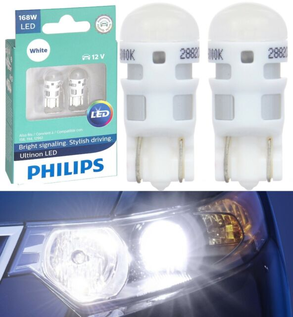Philips Ultinon LED Light 168 White 6000K Two Bulb Front Side Marker Replacement