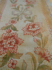 Antique Shabby French  Faded Floral & Ribbons Carnation Linen Border Fabric