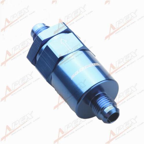 Billet Fuel Filter AN-6 AN6 6AN 30 Micron Filter Blue Aluminum Anodized