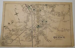 Details about Original 1876 Map Quincy South M Ma Old Vintage Machusetts on map of metro boston ma, map of streets north adams, map of mass coastline, map of so shore ma, map of ri and ma,