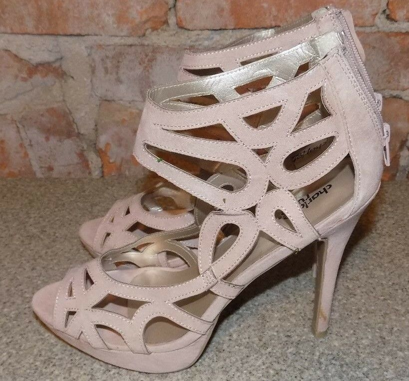 CHARLOTTE RUSSE PINK  GLADAITOR STYLE  WOMENS SIZE 9  PINK HIGH HEELS b60a86
