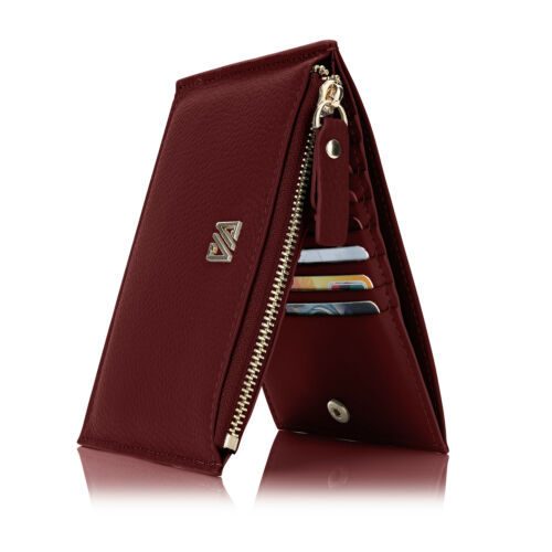 Women/'s Genuine Leather Wallet Credit Card Slots Holder Case Zip Pockets Purses