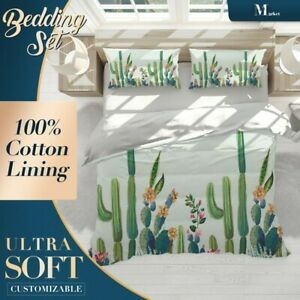 Cactus-Cartoon-Forest-Plant-Green-Quilt-Cover-Set-with-2x-Matching-Pillowcases
